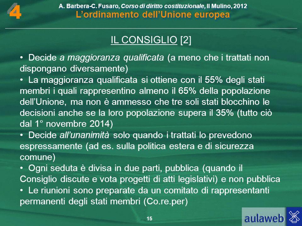 4 IL CONSIGLIO [2] • Decide a maggioranza qualificata (a meno che i trattati non dispongano diversamente)